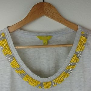 Milly x Banana Republic, yellow beaded gray tee